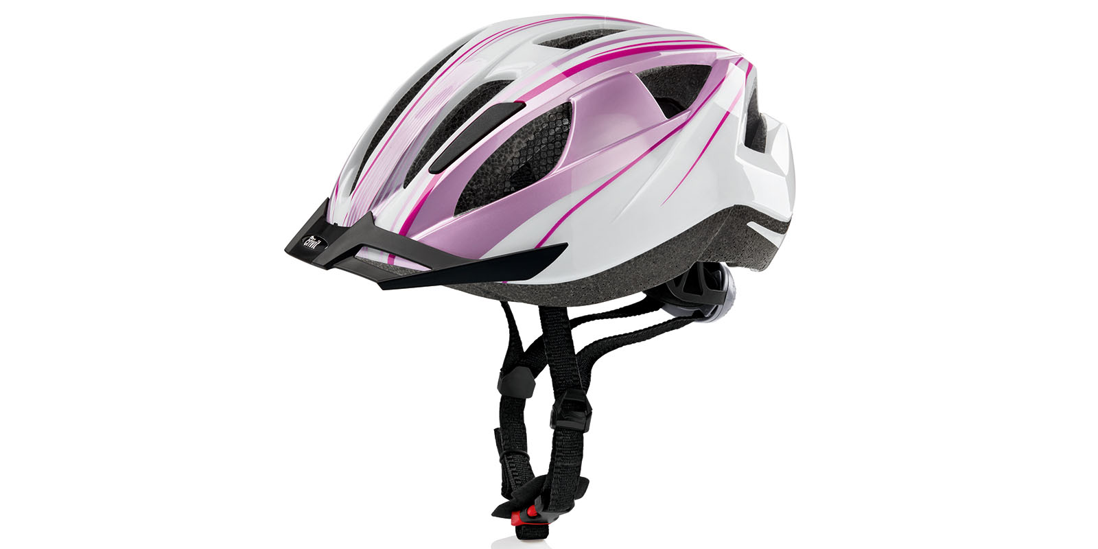 fahrradhelm mit r cklicht weiss pink s m damen crivit ebay. Black Bedroom Furniture Sets. Home Design Ideas
