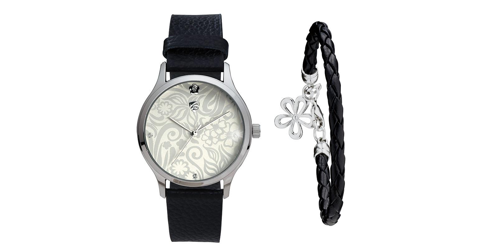 damen armbanduhr schmuckset schwarz silber uhr armband. Black Bedroom Furniture Sets. Home Design Ideas