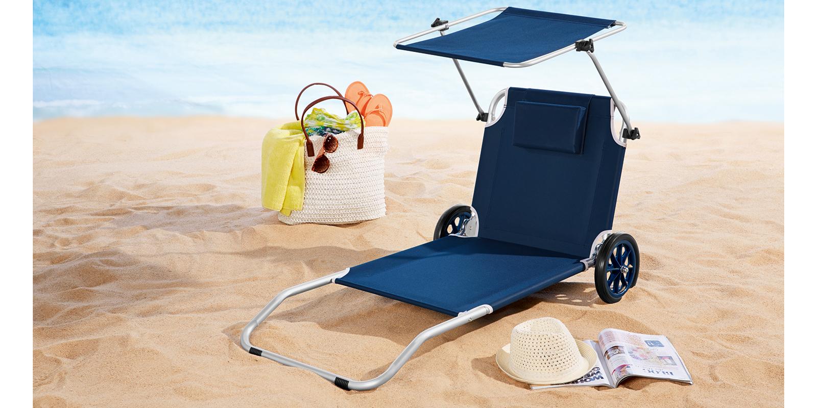 Strandliege mit rollen und dach  Alu Strandliege Sonnenliege mit Dach Räder Gartenliege Camping ...