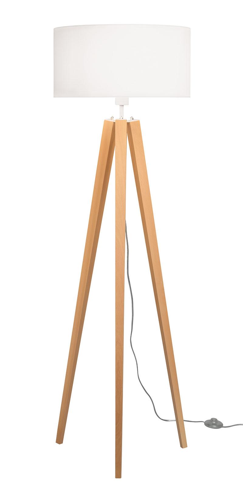Standleuchte LED Textil mit Holzfuß Creme Stehleuchte Modern ...