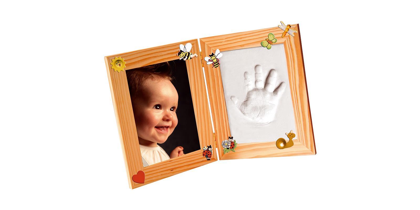 3D-Erinnerungen Bilderrahmen-Set klein holz Baby Abdruckset Hand und ...