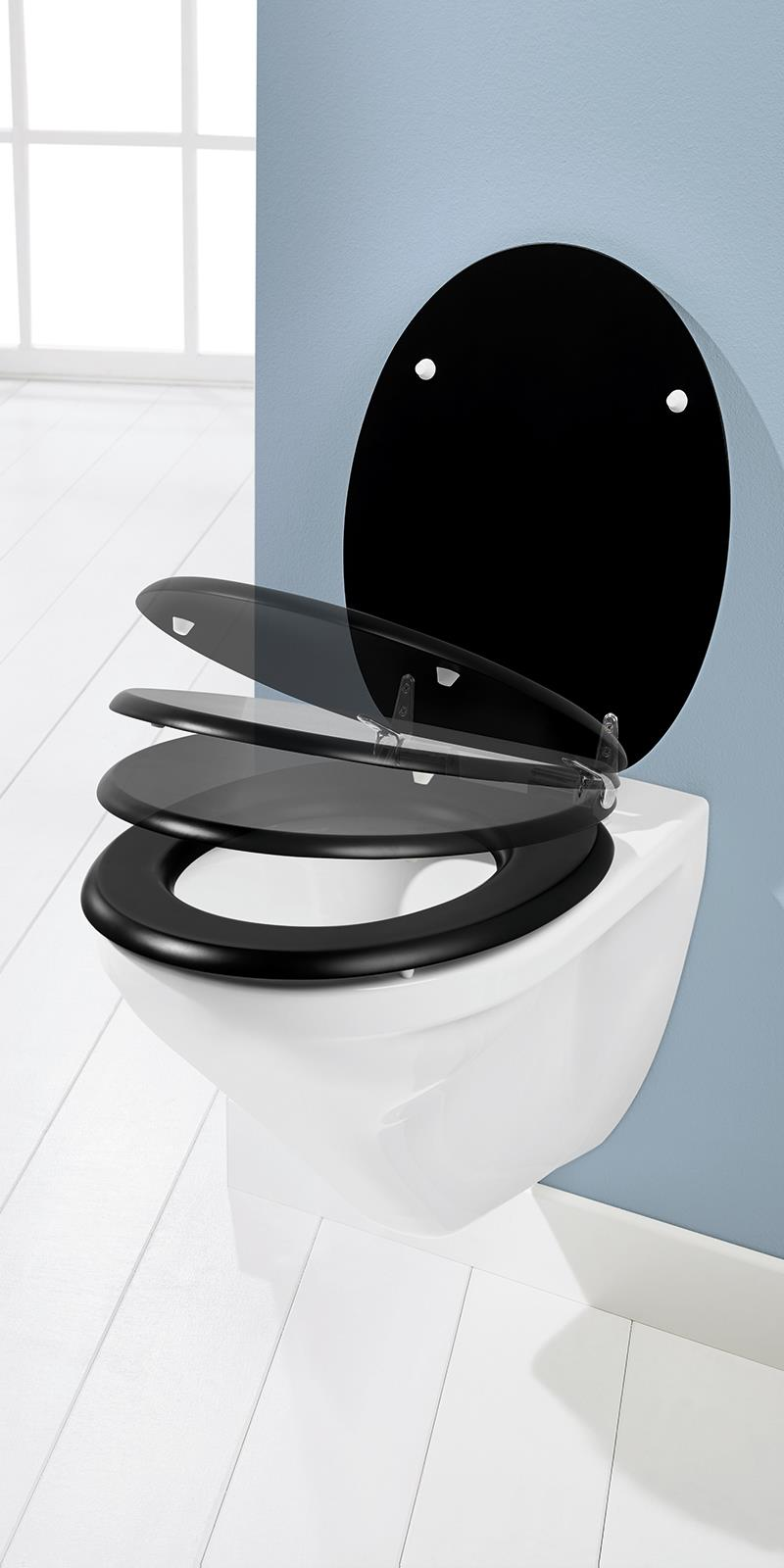 toilettensitz absenkautomatik schwarz klobrille wc sitz klodeckel bad ebay. Black Bedroom Furniture Sets. Home Design Ideas