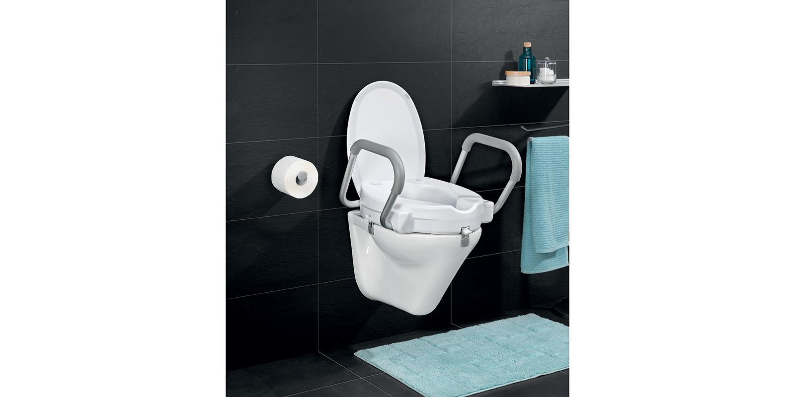 senioren wc erh hung mit griffen und deckel weiss toilettensitz aufsatz ebay. Black Bedroom Furniture Sets. Home Design Ideas