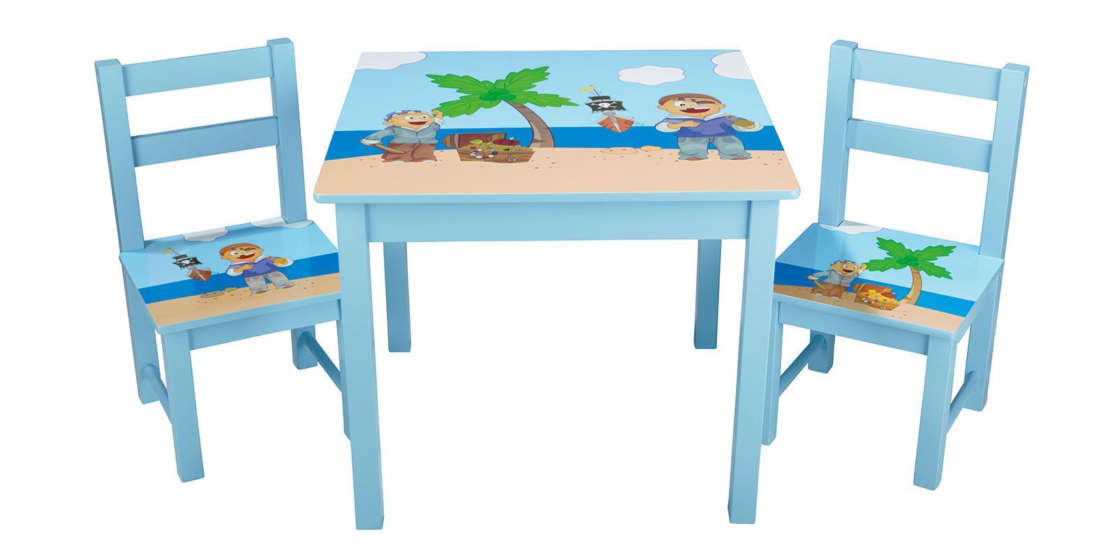 Kinder Tisch Mit Zwei Stühlen Blau Piartenmotiv