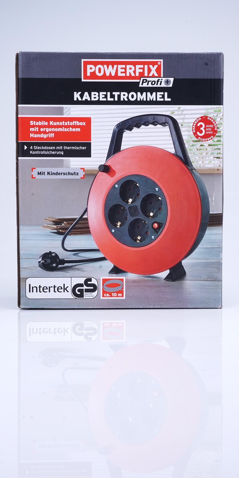 kabeltrommel 10m powerfix steckdose verl ngerungskabel. Black Bedroom Furniture Sets. Home Design Ideas